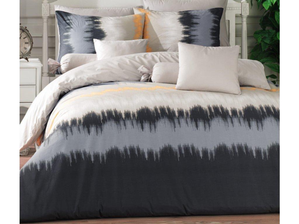 Prodloužené povlečení bavlna 140x220, 70x90cm Picaso grey, Výběr zapínání: zipový uzávěr