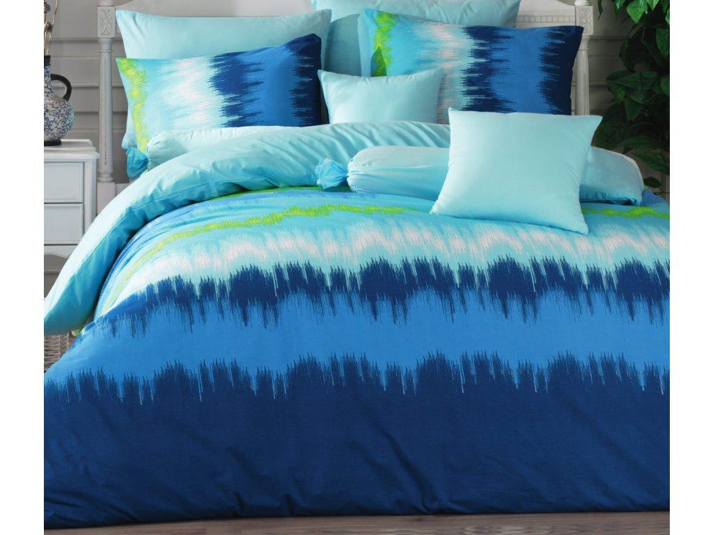 Povlečení francouzské bavlna 200x200,70x90 Picaso blue, Výběr zapínání: zipový uzávěr