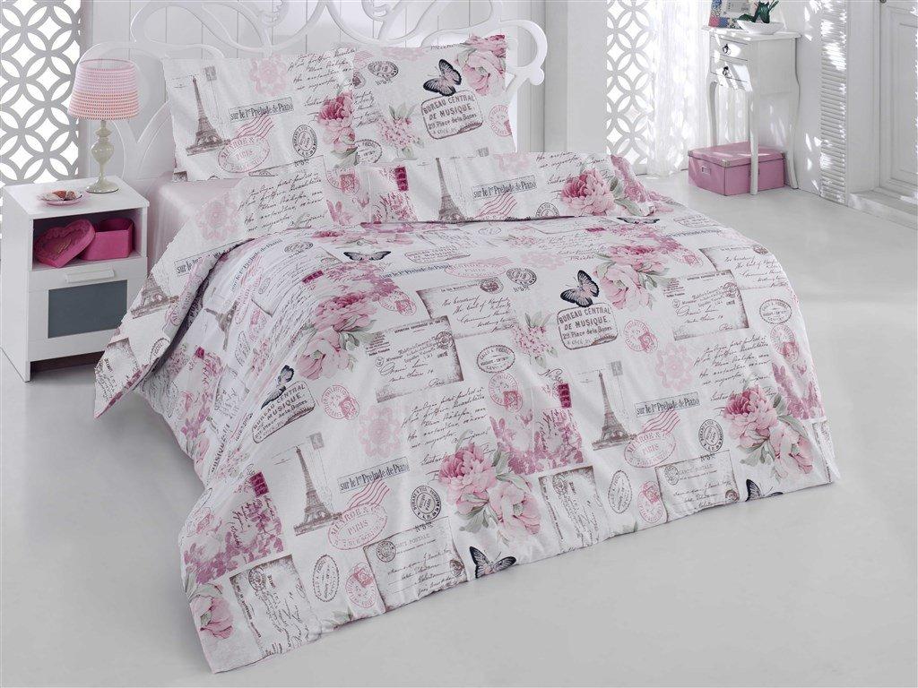 Prodloužené povlečení bavlna 140x220, 70x90cm Paris růžová, Výběr zapínání: zipový uzávěr
