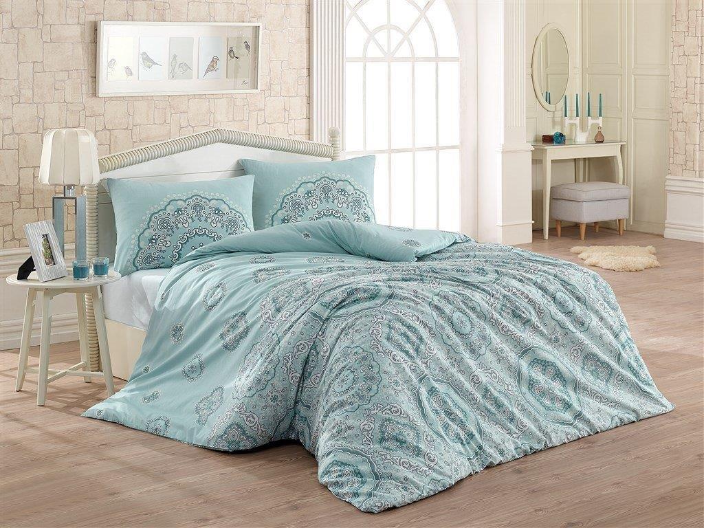 Povlečení francouzské bavlna 200x200,70x90 Mandala blue, Výběr zapínání: