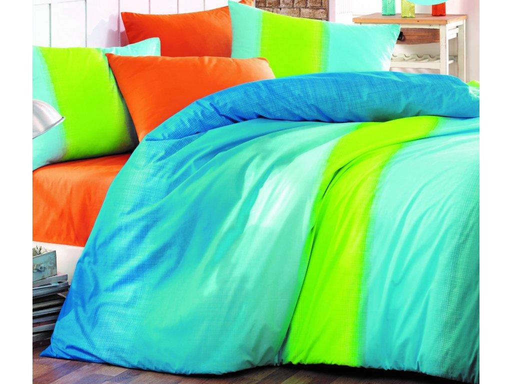Prodloužené povlečení bavlna 140x220, 70x90cm Colorful blue, Výběr zapínání: zipový uzávěr