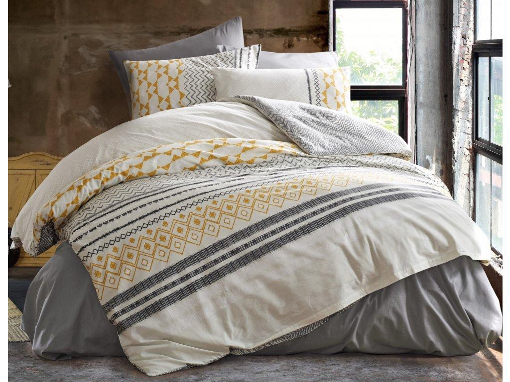 Prodloužené povlečení bavlna 140x220, 70x90cm Litea natur, Výběr zapínání: zipový uzávěr