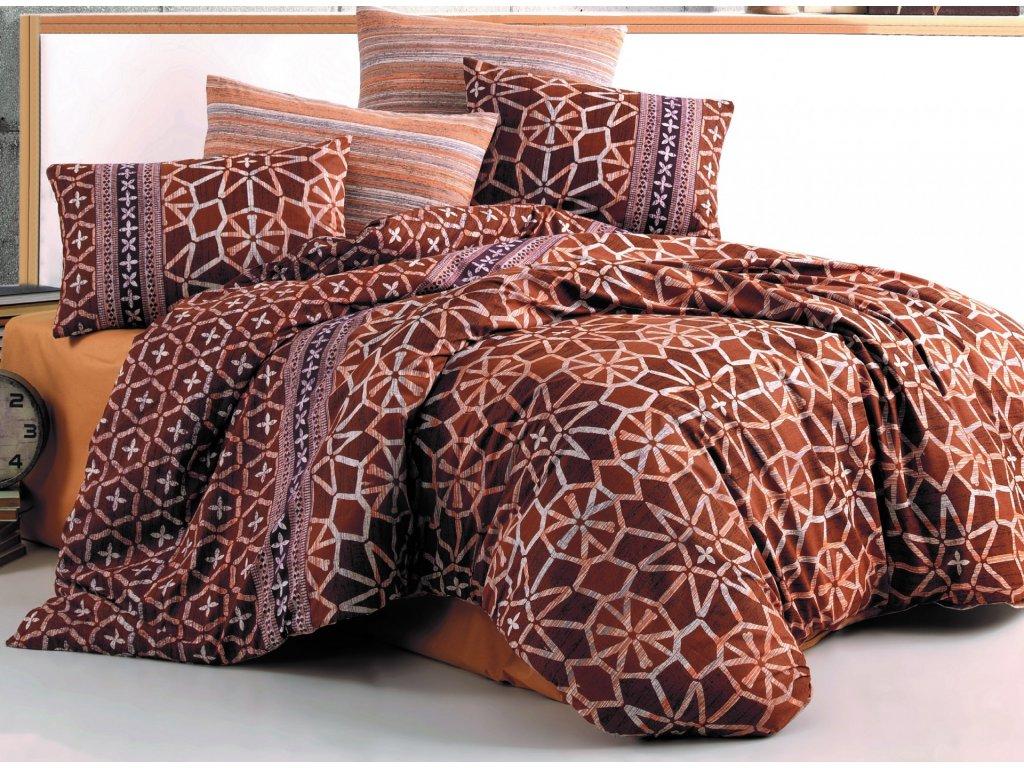 Povlečení francouzské bavlna 240x200,70x90 Ivory brown, Výběr zapínání: zipový uzávěr