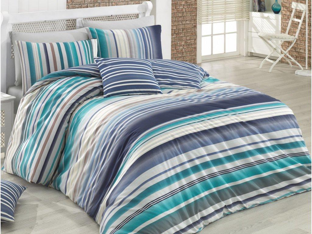 Povlečení francouzské bavlna 240x200,70x90 Dany blue, Výběr zapínání: zipový uzávěr