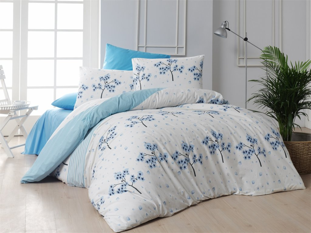 Flanelové francouzské povlečení 220x220, 70x90 Viola blue