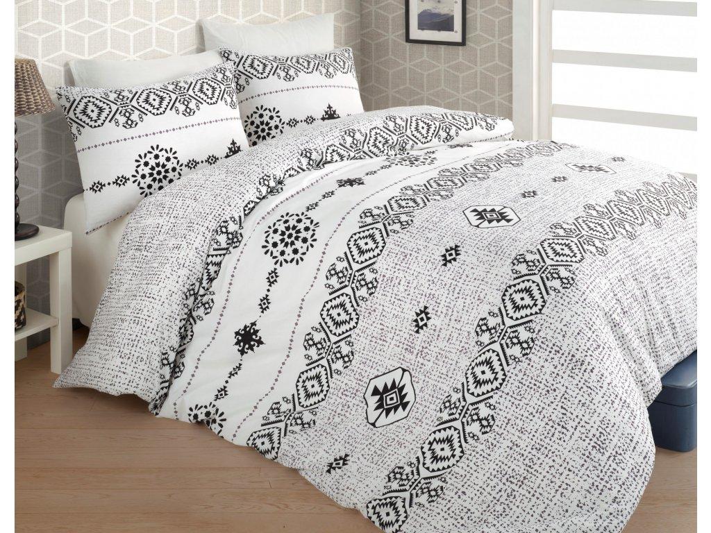 Prodloužené povlečení bavlna 140x220, 70x90cm Melisa grey, Výběr zapínání: zipový uzávěr