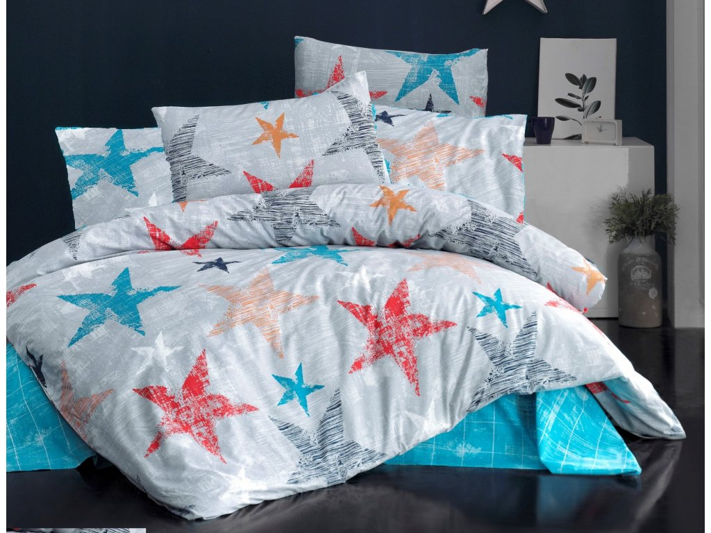 Povlečení francouzské bavlna 240x200,70x90 Color stars, Výběr zapínání: