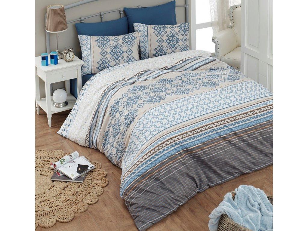 Povlečení francouzské bavlna 200x200,70x90 Damian blue, Výběr zapínání: zipový uzávěr