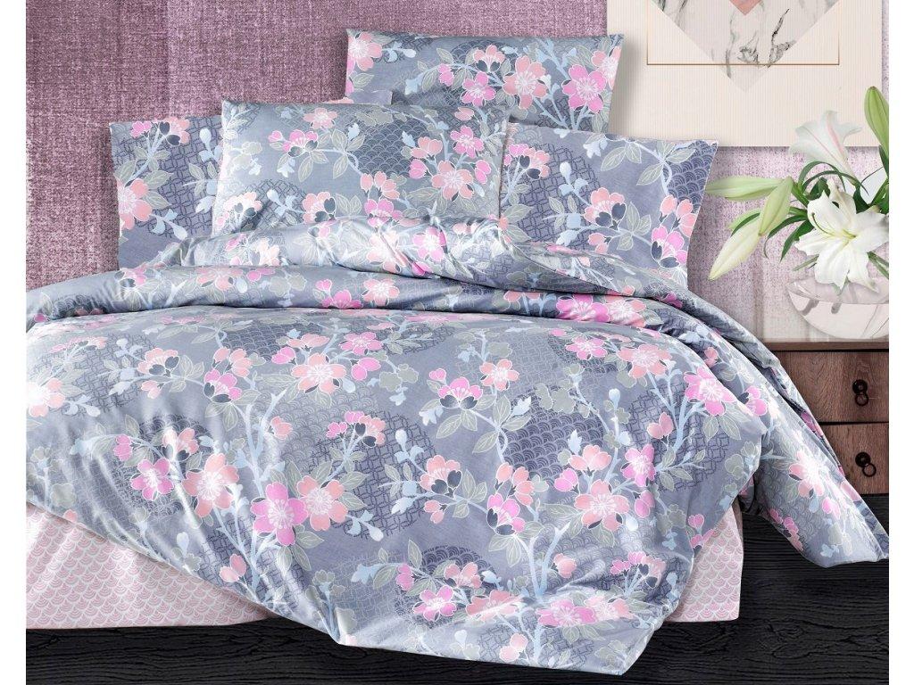 Prodloužené povlečení bavlna 140x220, 70x90cm Sarah pink, Výběr zapínání: zipový uzávěr