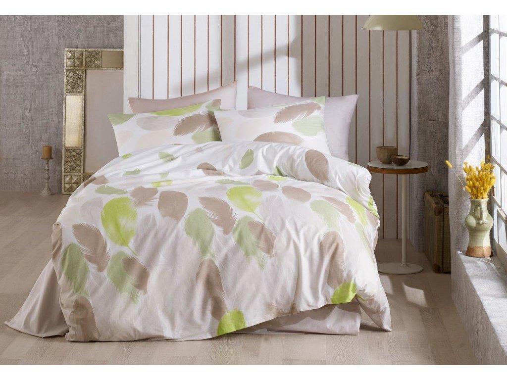 Povlečení francouzské bavlna 220x220,70x90 Nobles green, Výběr zapínání: zipový uzávěr