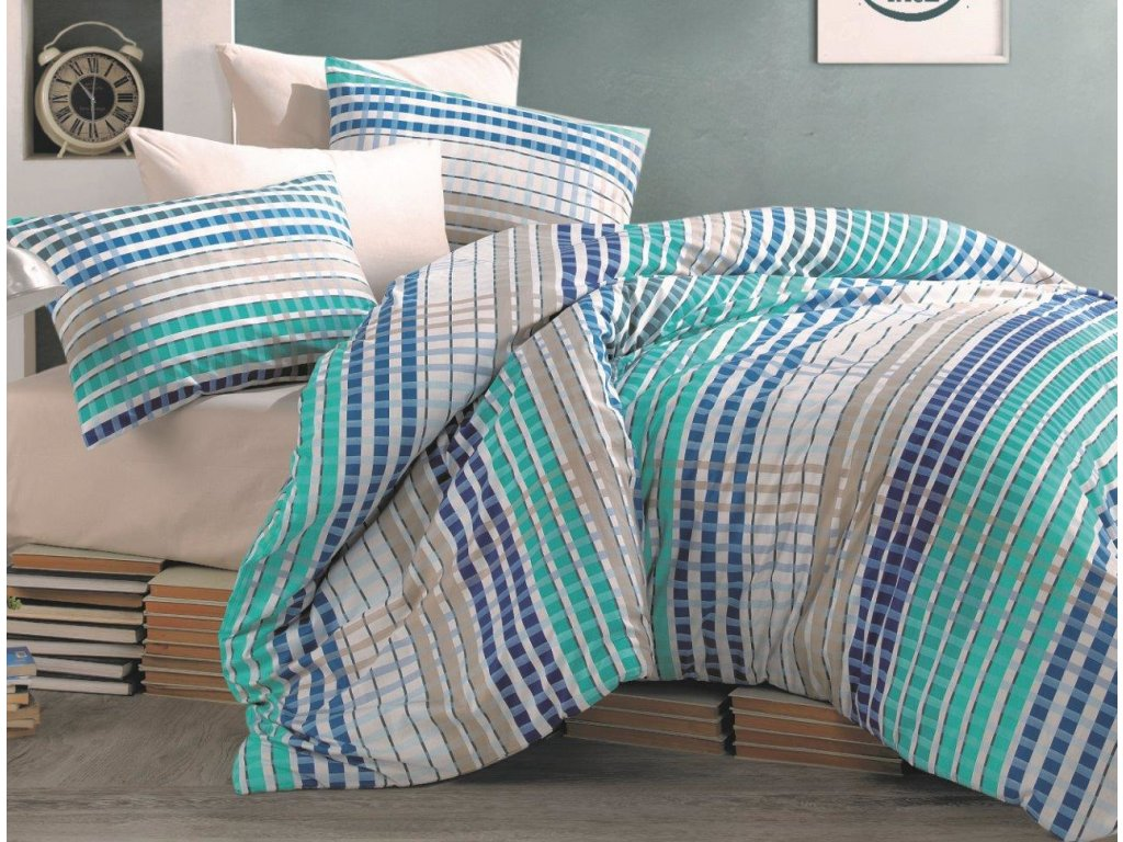 Povlečení francouzské bavlna 240x200,70x90 Tema blue, Výběr zapínání: zipový uzávěr