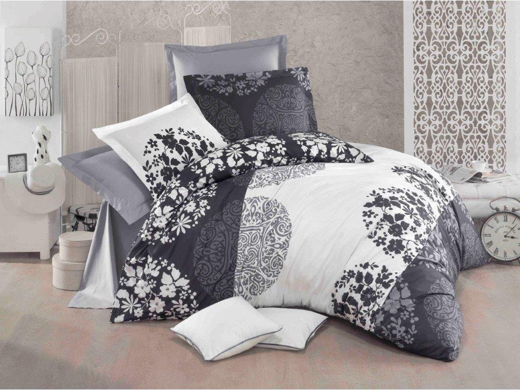 Prodloužené povlečení bavlna 140x220, 70x90cm Šeron grey, Výběr zapínání: zipový uzávěr