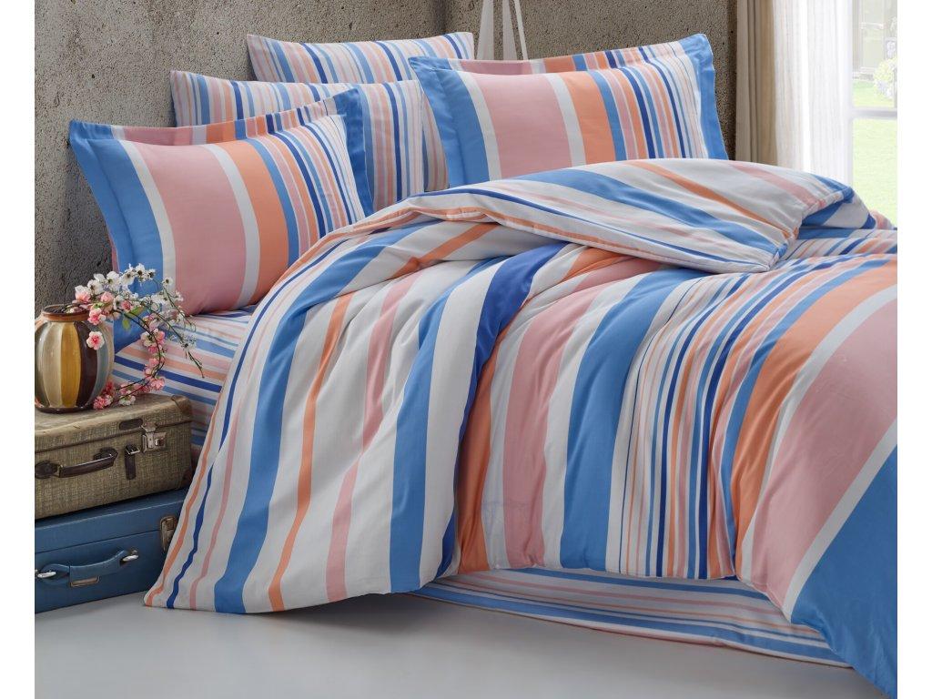 Povlečení francouzské bavlna 220x200,70x90 Mart blue-pink, Výběr zapínání: zipový uzávěr