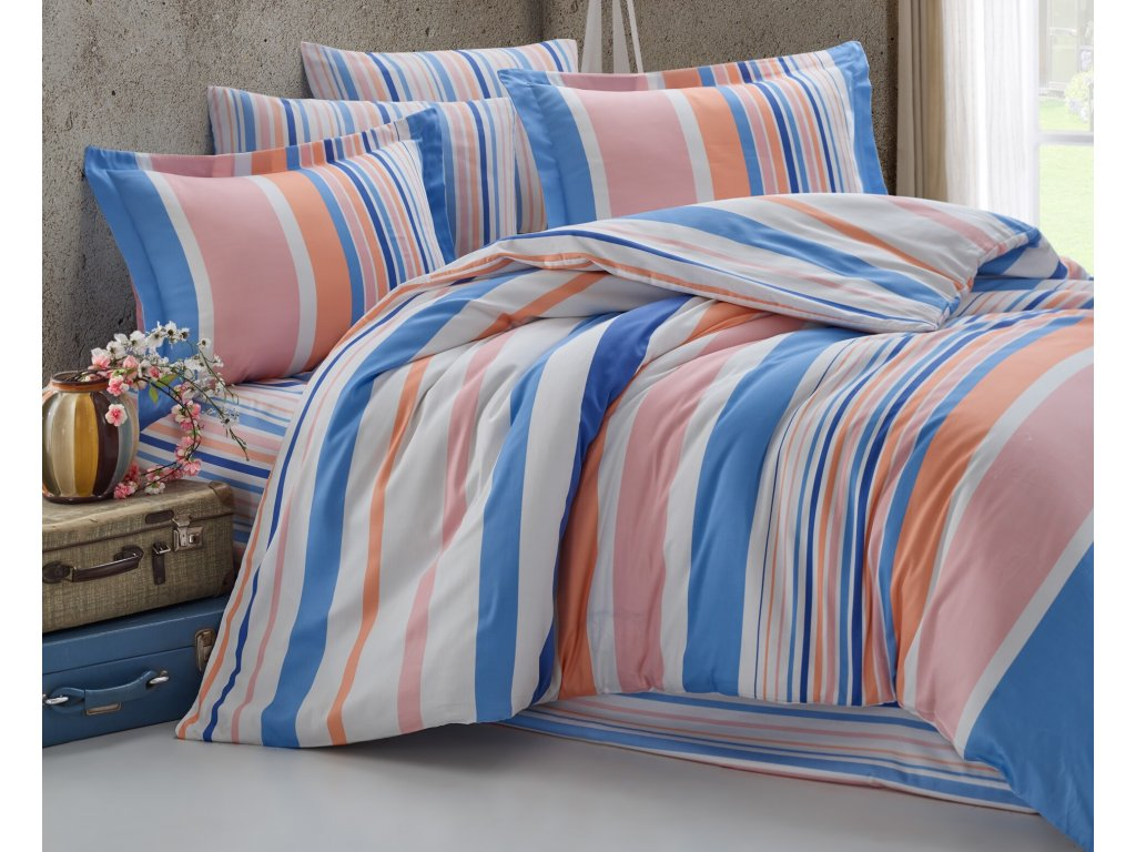 Povlečení francouzské bavlna 220x220,70x90 Mart blue-pink, Výběr zapínání: zipový uzávěr