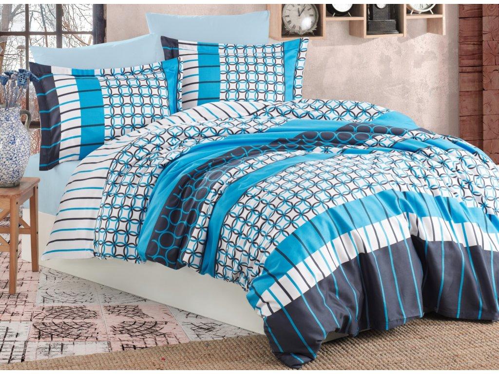 Povlečení francouzské bavlna 220x200,70x90 Metis blue , Výběr zapínání: zipový uzávěr