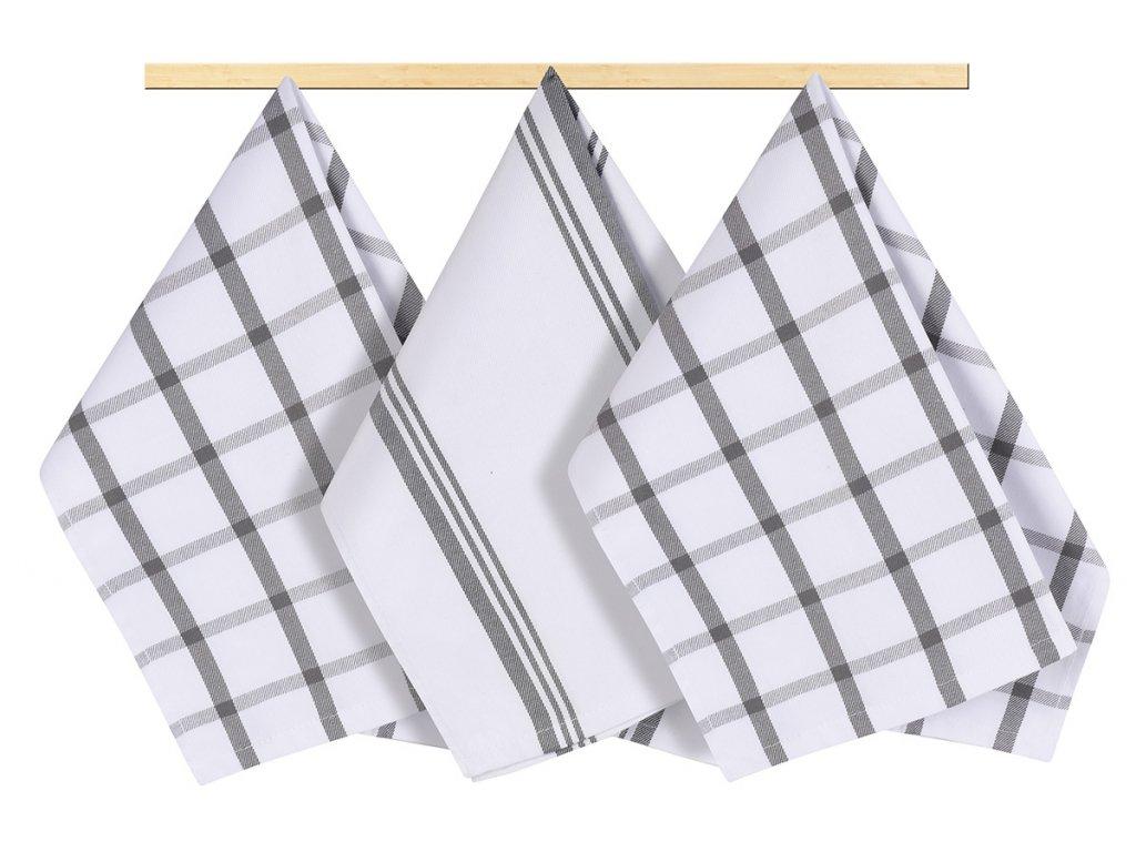 Kuchyňská utěrka 50x70cm káro šedé