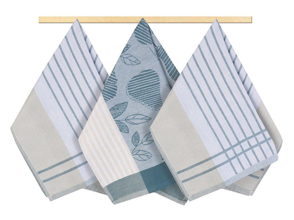 Kuchyňská utěrka 50x70cm šedomodrý proužek