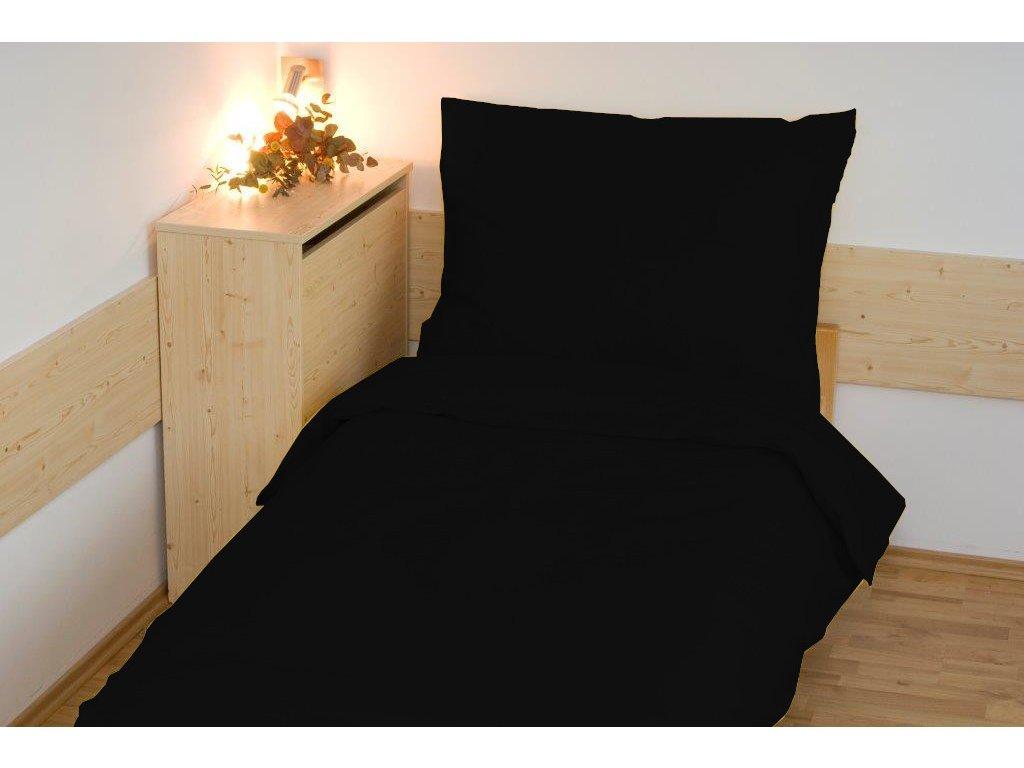 Prodloužené povlečení bavlna UNI 140x220, 70x90cm Černé, Výběr zapínání: zipový uzávěr