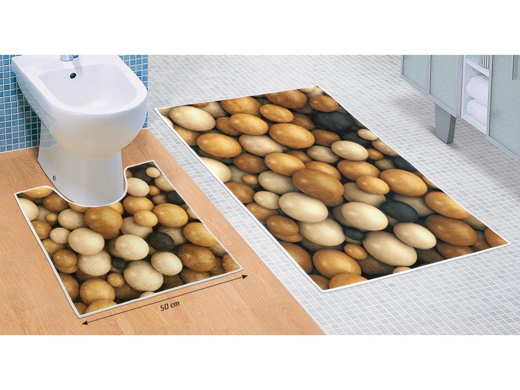 Koupelnová sada předložek 3D 60x100+60x50cm Dřevěné koule
