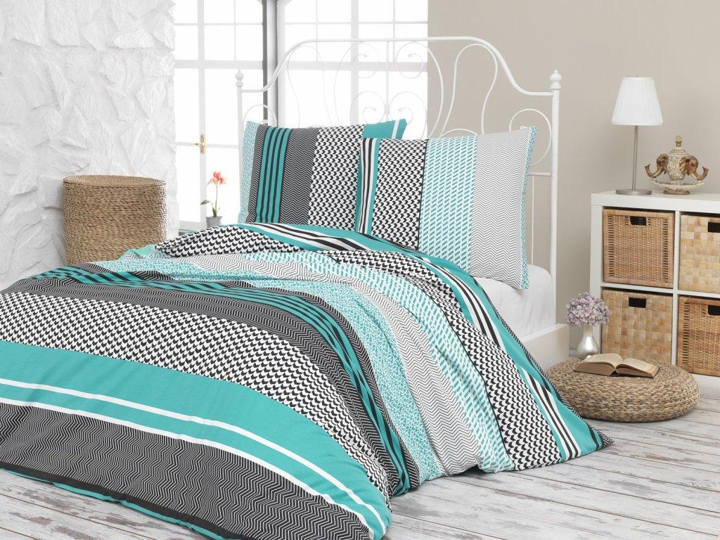 Povlečení francouzské bavlna 240x200,70x90 Sorento green, Výběr zapínání: zipový uzávěr