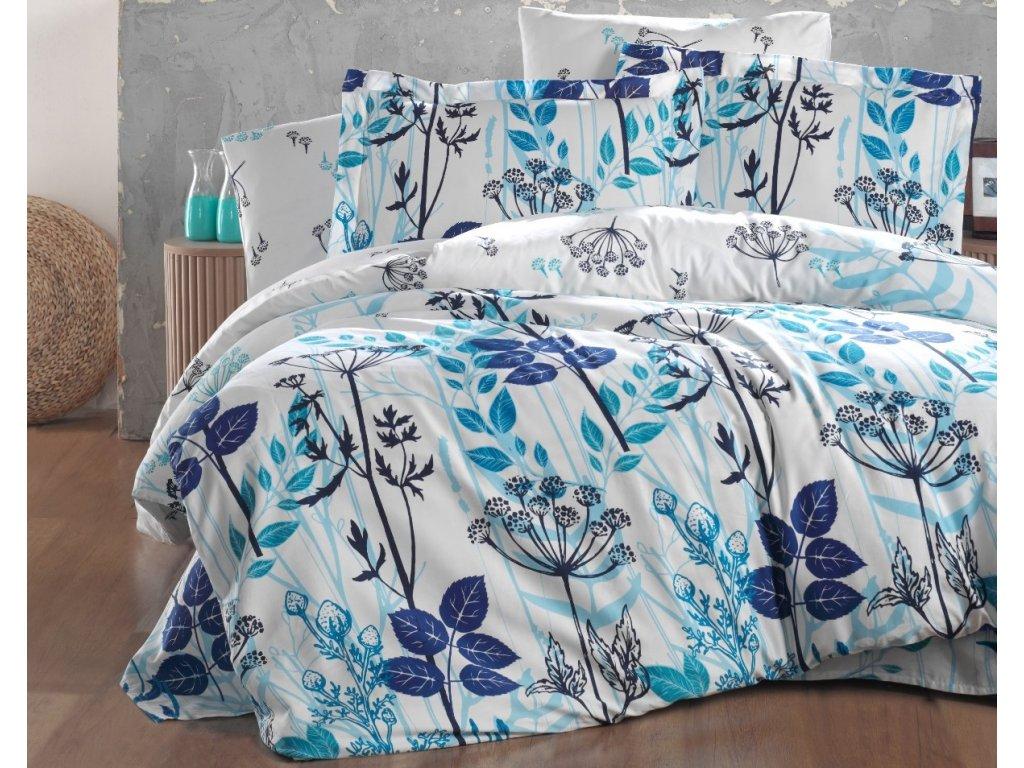 Prodloužené povlečení Satén 140x220, 70x90cm Garden blue, Výběr zapínání: zipový uzávěr