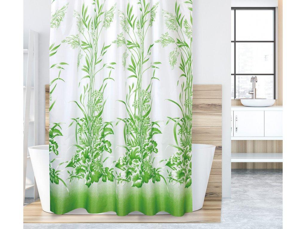 Koupelnový závěs zelená tráva