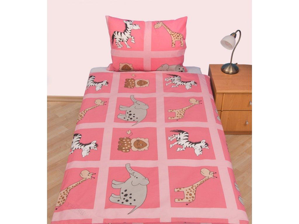 Povlečení dětské krep velká postel Safari růžové, Výběr zapínání: zipový uzávěr