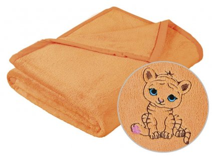 Dětská micro deka 75x100cm lososová s výšivkou
