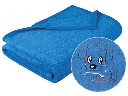 Dětská micro deka 75x100cm modrá s výšivkou