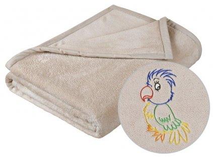 Dětská micro deka 75x100cm béžová s výšivkou
