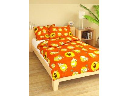Povlečení dětské bavlna malá postýlka Ovečky oranžové, Výběr zapínání: nitěný knoflík