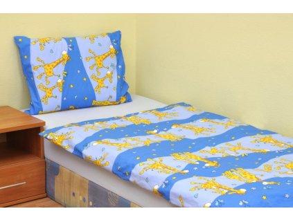 Povlečení dětské bavlna velká postel Žirafa modrá, Výběr zapínání: zipový uzávěr