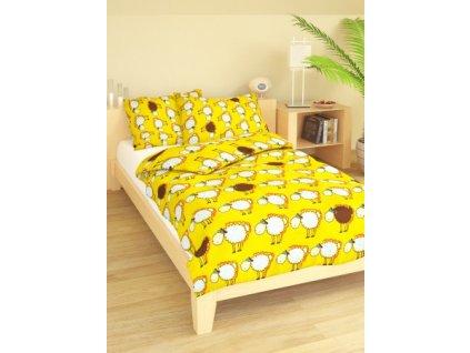 Povlečení dětské bavlna velká postel Ovečky žluté, Výběr zapínání: zipový uzávěr
