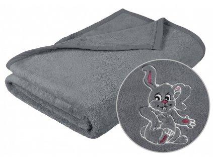 Dětská micro deka 75x100cm šedá s výšivkou