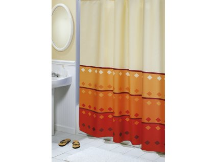 Koupelnový závěs Geometrie oranžová