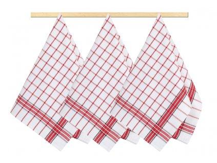 Kuchyňská utěrka 50x70cm kostka červená