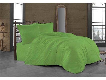 Francouzské povlečení Satén 240x220, 70x90cm Světle zelená, Výběr zapínání: zipový uzávěr