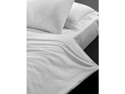Hotelové povlečení 140x200, 70x90cm Atlas gradl Bílý - česaný 145g/m2, proužek 4mm, Výběr zapínání: zipový uzávěr