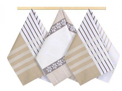 Kuchyňská utěrka 50x70cm proužek béžový, hnědý, bílý