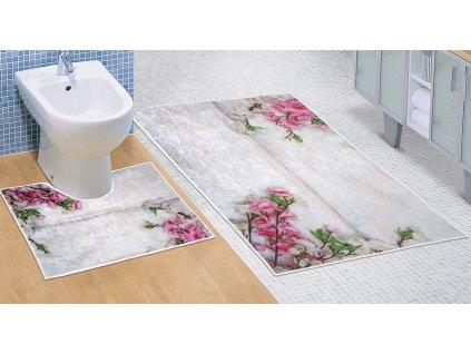 Koupelnová sada předložek 3D 60x100+60x50cm Růžová kytice