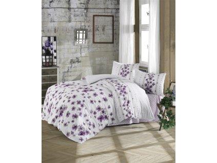 Prodloužené povlečení bavlna 140x220, 70x90cm Lorieta purple, Výběr zapínání: zipový uzávěr