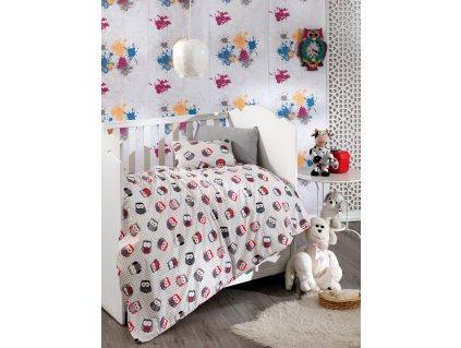 Povlečení dětské bavlna 140x200, 70x90cm sovičky, Výběr zapínání: zipový uzávěr