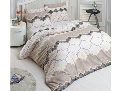 Povlečení francouzské bavlna 200x200,70x90 Kandy natur, Výběr zapínání: