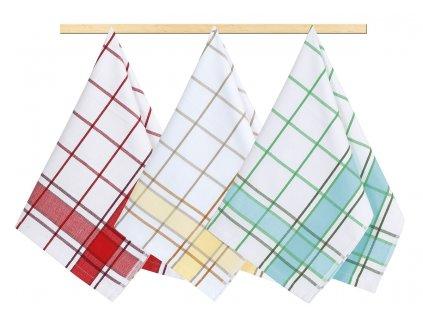 Kuchyňská utěrka 50x70cm červená, žlutá, tyrkysová kostka