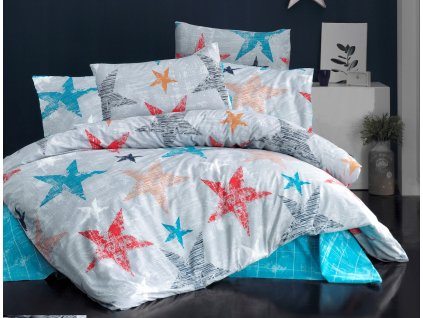 Povlečení francouzské bavlna 220x200,70x90 Color stars, Výběr zapínání:
