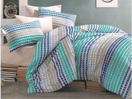 Povlečení francouzské bavlna 200x200,70x90 Tema blue, Výběr zapínání: zipový uzávěr