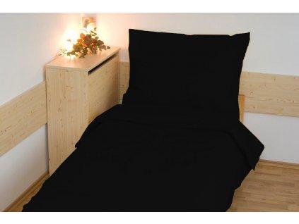 Povlečení bavlna UNI 140x200, 70x90cm černá, Výběr zapínání: