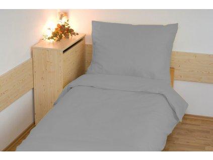 Prodloužené povlečení bavlna UNI 140x220, 70x90cm Světle šedé, Výběr zapínání: zipový uzávěr