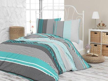 Povlečení francouzské bavlna 220x220,70x90 Sorento green, Výběr zapínání: zipový uzávěr