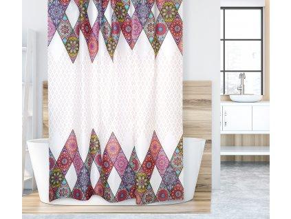 Koupelnový závěs růžová mandala